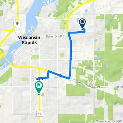 1001 28th St N, Wisconsin Rapids to 2660 Eighth St S, Wisconsin Rapids