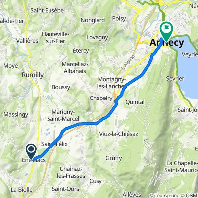 De Montée de la Rippe, Albens à Quai Eustache Chappuis 3, Annecy