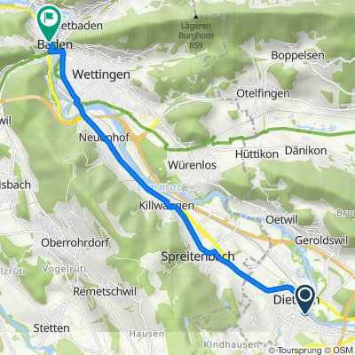 Zürcherstrasse 55, Dietikon to Bahnhofstrasse 13–17, Baden
