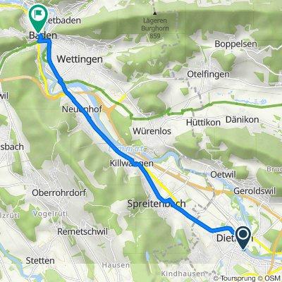 Route to Bahnhofstrasse 13–17, Baden