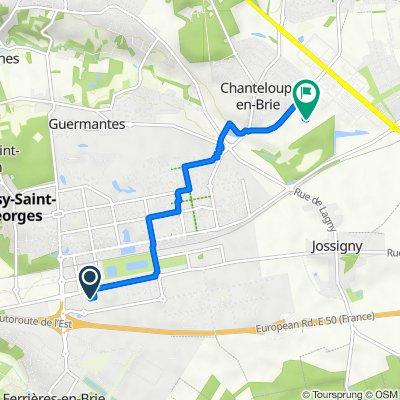 De 1–7 Rue Émile Peynaud, Bussy-Saint-Georges à Rue de la Cueillette, Chanteloup-en-Brie