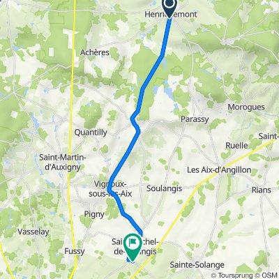 De Route de Menetou 9, Henrichemont à Les Vignes des Plantes 12, Saint-Michel-de-Volangis