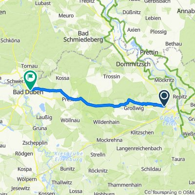 От Zinnaer Straße, Торгау до Wirtschaftsweg, Бад Дюбен