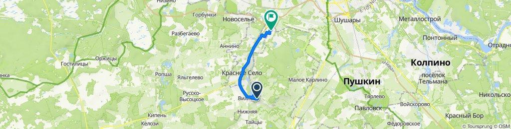 От Театральная улица, Красное Село до улица Современников, 3, Виллозское