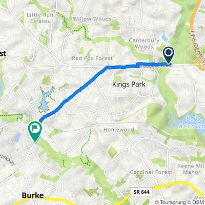 8200 Braddock Rd, Annandale to 9514–9540 Burke Lake Rd, Burke