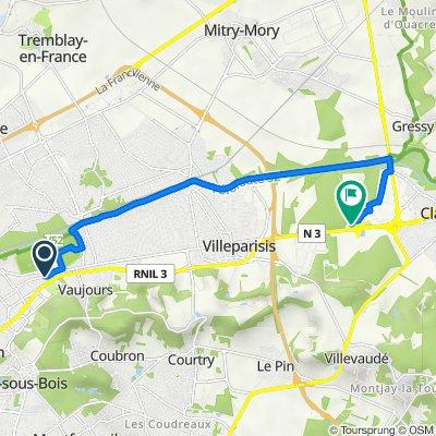 De 130bis Avenue Voltaire, Livry-Gargan à Route Nationale, Claye-Souilly