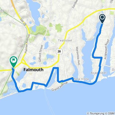 120 Shorewood Dr, East Falmouth to 145 Locust St, Falmouth