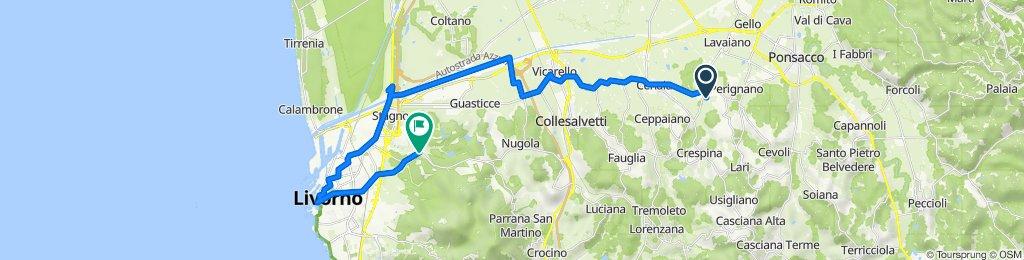 Da Via Sposini 16, Casciana Terme Lari a Via delle Sorgenti 458, Livorno