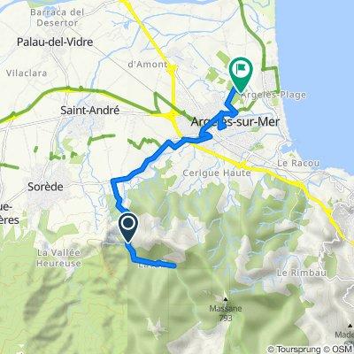 Itinéraire à partir de Route de Lavail, Sorède