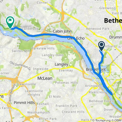 Route from 5110 Marlyn Dr, Bethesda