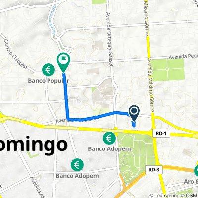 De Calle Ramon Caceres 53, Santo Domingo a Avenida Tiradentes 148, Santo Domingo