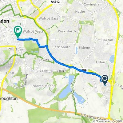 Great Western Hospital, Coateside Way, Swindon to 210 Drove Road, Swindon