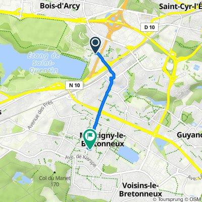 De Rue Laurent Fignon 1, Montigny-le-Bretonneux à Rue Gérard de Nerval 23, Montigny-le-Bretonneux