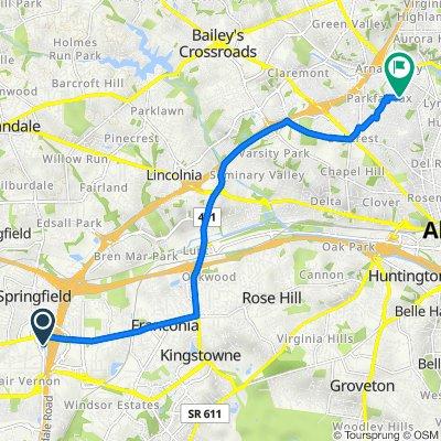 6571 Backlick Rd, Springfield to 703–799 S Overlook Dr, Alexandria