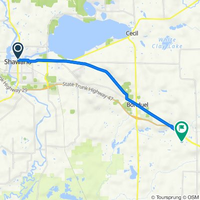 N Sawyer St, Shawano to N3301–N3325 S Broadway Rd, Bonduel