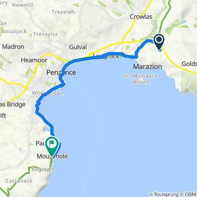Wheal Rodney Carapark, Gwallon, West End, Marazion to 77–99 South West Coast Path, Mousehole, Penzance