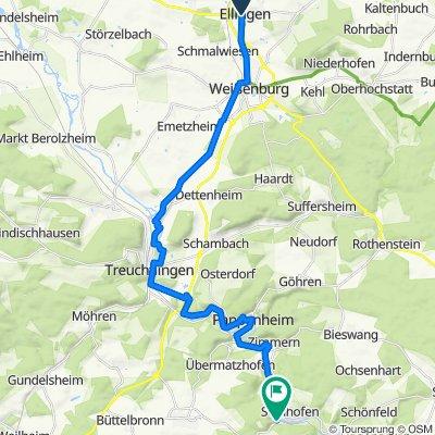 Hausner Gasse 24, Ellingen nach Senefelderstraße 2, Solnhofen