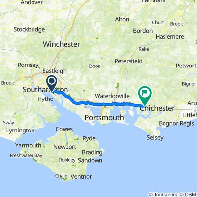 Route from 60 Archery Grove, Southampton