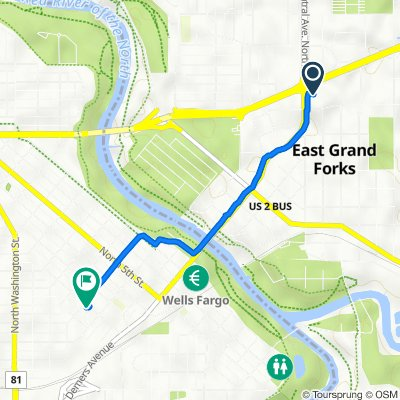 1010 Central Ave NE, East Grand Forks to 219 N Eighth St, Grand Forks