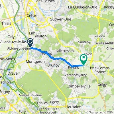 De 17 Allée Beauséjour, Villeneuve-Saint-Georges à Route de Brie-Comte-Robert, Périgny-sur-Yerres