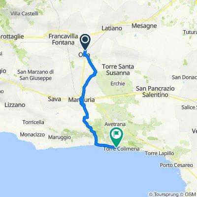 Da Viale Regina Margherita 90, Oria a Sentiero d'accesso alla spiaggia, Manduria
