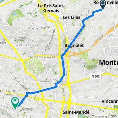 De 53 Avenue de Verdun, Romainville à 6 Place du Colonel Bourgoin, Paris
