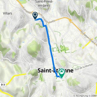De 28 Chemin des Champs, Saint-Priest-en-Jarez à 3 Place Antonin Moine, Saint-Étienne