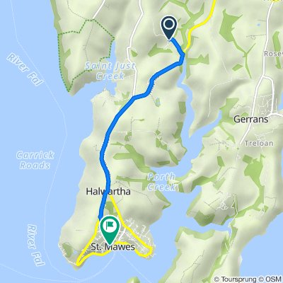Route to 2–4 Bohella Road, St Mawes, Truro