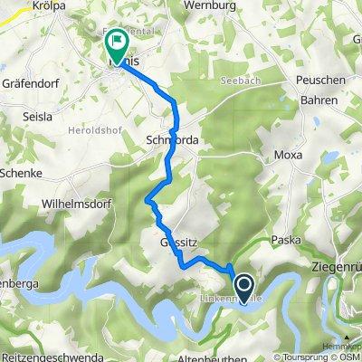 Route nach Burgstraße, Ranis
