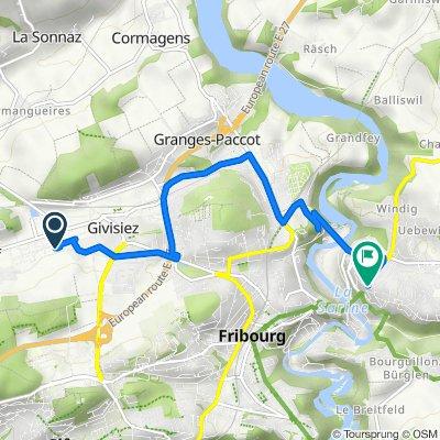 De Route André Piller 19, Givisiez à Chemin des Kybourg 16A, Fribourg