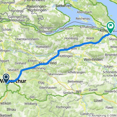 Route von Nägelseestrasse 30, Winterthur