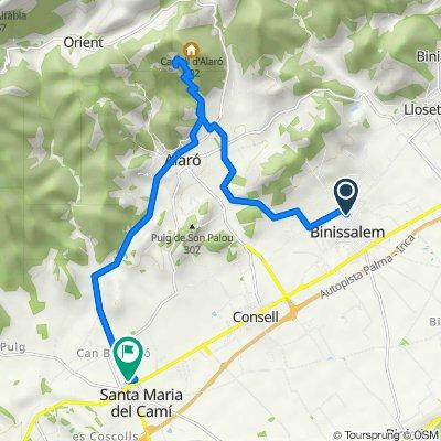 Mallorca: Binissalem-es Verger (castell d'Alaró)-Alaró-Santa Maria