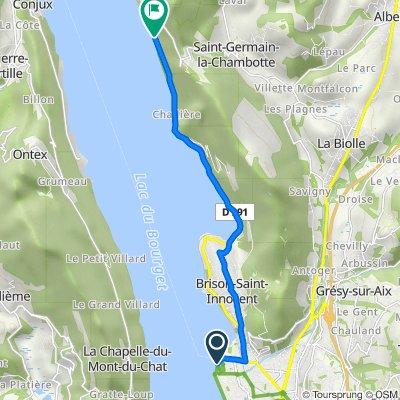 De 2 Boulevard Robert Barrier, Aix-les-Bains à 4377–5421 Route d'Aix, Saint-Germain-la-Chambotte