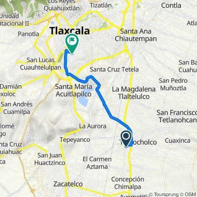 De Calle Ignacio Zaragoza, Teolocholco a Avenida 2 Rosario Castellanos, Tlaxcala de Xicohténcatl