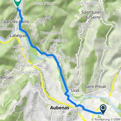 346 Chemin du Bosquet, Saint-Didier-sous-Aubenas nach 100 Rue Jean Jaurès, Vals-les-Bains