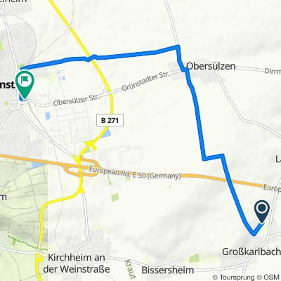 Schliffgasse 24, Großkarlbach nach Friedrich-Ebert-Straße 2c, Grünstadt