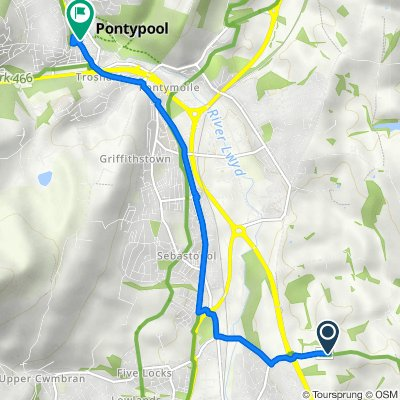 Tre-Herbert Road, Croesyceiliog, Cwmbran to 16 Crane St, Pontymoile, Pontypool