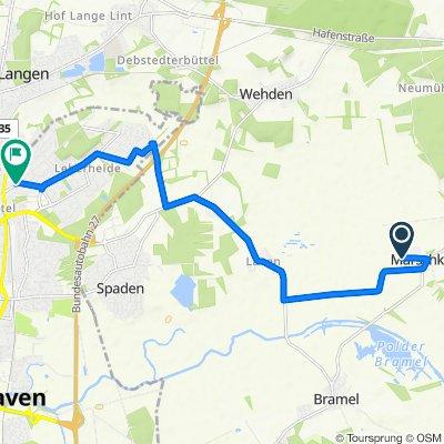 Route nach Debstedter Weg 34, Bremerhaven