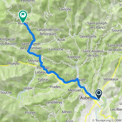 346 Chemin du Bosquet, Saint-Didier-sous-Aubenas nach 6 Grand Rue, Burzet