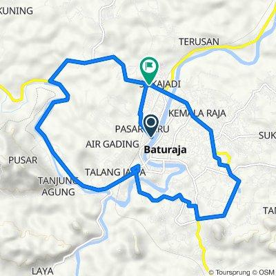 Jalan Doktor Sutomo 155, Kecamatan Baturaja Timur to Jalan Lintas Sumatera, Kecamatan Baturaja Timur