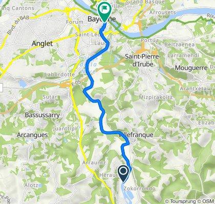 De Chemin de Halage, Ustaritz à 27–35 Rue Bourgneuf, Bayonne