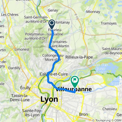 De 7–11 Route de Lyon, Fleurieu-sur-Saône à 15A Rue Pierre Joseph Proudhon, Villeurbanne