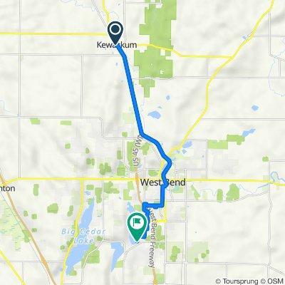 104 Main St, Kewaskum to 5327 Quaas Dr, West Bend
