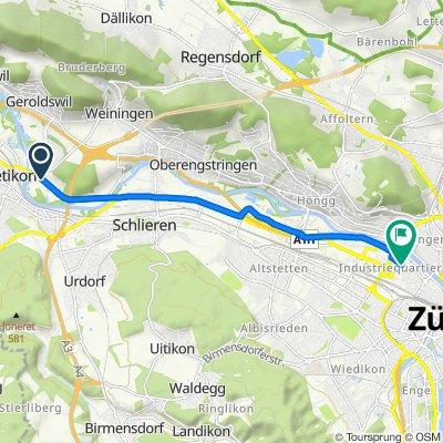 Überlandstrasse, Unterengstringen to Heinrichstrasse 216, Zürich