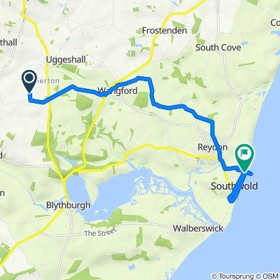Route to Pier Pavilion, North Parade, Southwold