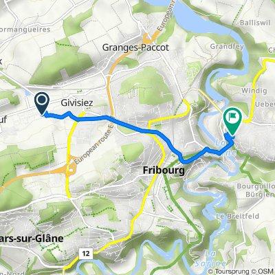 De Route André Piller 19, Givisiez à Chemin des Kybourg 13, Fribourg