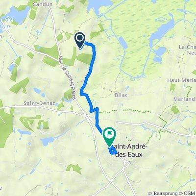 De 36 Route de Tréhé, Saint-André-des-Eaux à 14 Rue du Parc au Ray, Saint-André-des-Eaux