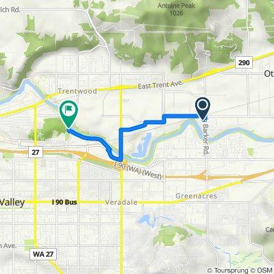 3025 N Barker Rd, Spokane Valley to 13145–13163 E Mirabeau Pkwy, Spokane Valley