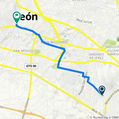 De Boulevard Río Mayo 6425, León a Avenida Miguel Alemán 902, León