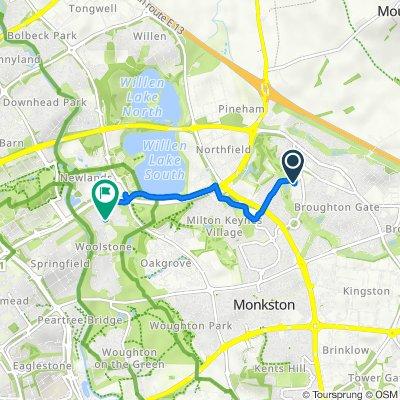 84 Tanfield Lane, Milton Keynes to 15 Newport Road, Milton Keynes
